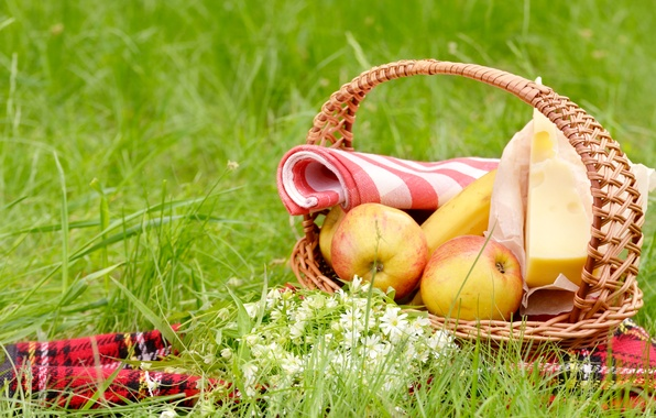 Picture greens, summer, grass, flowers, basket, glade, apples, cheese, picnic, banana, tablecloth