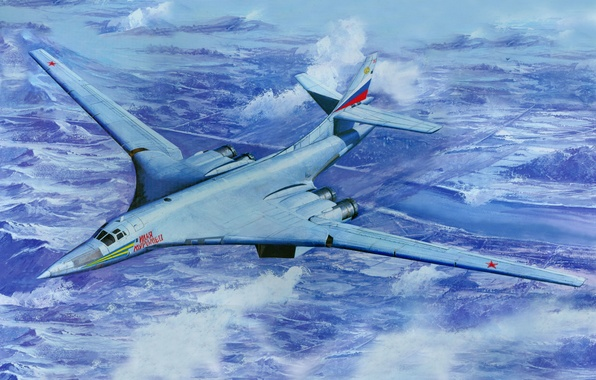 Picture aviation, art, the plane, strategic, RUSSIAN AIR FORCE, The Tu-160, Soviet, bomber bomber