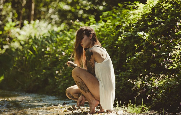 Picture summer, girl, pose, Mike, tattoo, Refen Doe
