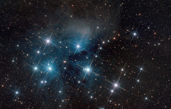 Picture space, The Pleiades, star cluster, in the constellation of Taurus