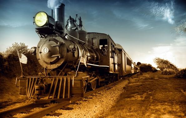 Picture retro, the way, photo, movement, rails, the engine, technique, us locomotive, Steam
