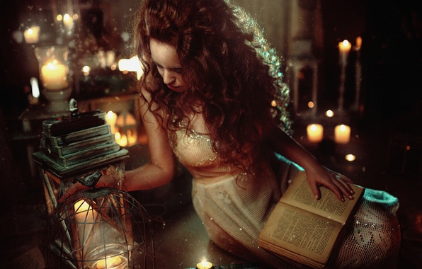 Picture girl, lights, mood, hair, tale, candles, lantern, book, red, girl, model, fabulous