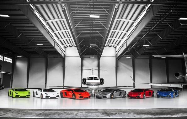 Picture Lamborghini, The plane, Orange, Red, Blue, Green, White, LP700-4, Aventador, Supercars, Silver, Supercars, Plane