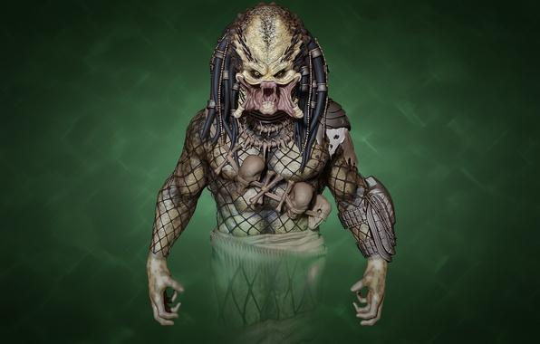 Picture rendering, monster, predator, alien, green background, predator