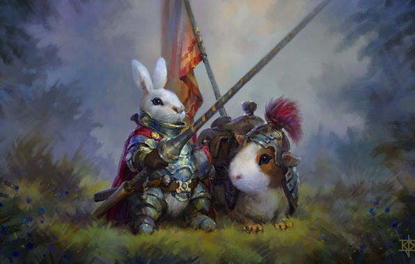 Picture rabbit, Guinea pig, knight, art