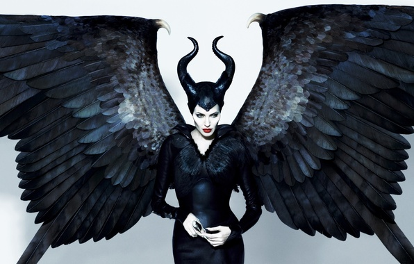 Picture look, wings, actress, Angelina Jolie, Angelina Jolie, horns, sexy, the witch, black, Maleficent, Maleficente, 2014, …