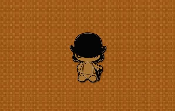Picture minimalism, hat, cane, a clockwork orange, clockwork orange, Kubrick, Clockwork orange