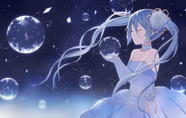 Picture flower, girl, earth, anime, art, vocaloid, hatsune miku, nagitoki