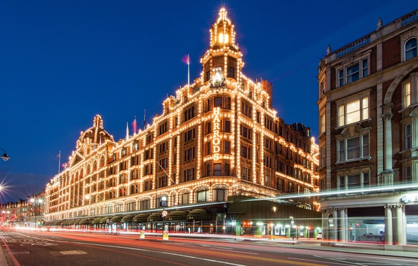 Picture road, night, lights, the building, England, London, excerpt, lighting, UK, London, England, Great Britain, Harrods, …