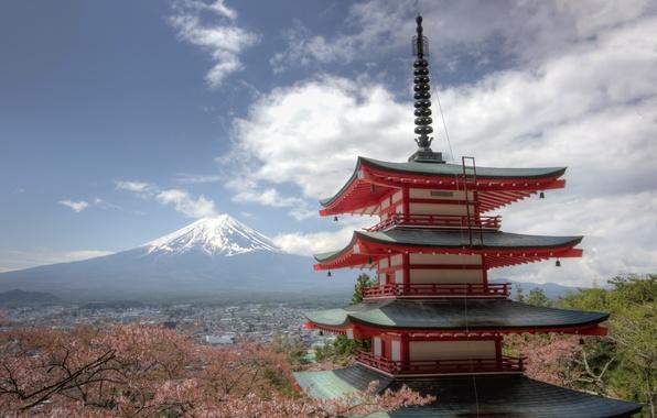 Picture mountain, the volcano, Japan, Sakura, Fuji, panorama, pagoda, Japan, Mount Fuji, Fuji, Chureito Pagoda, Fujiyoshida, …
