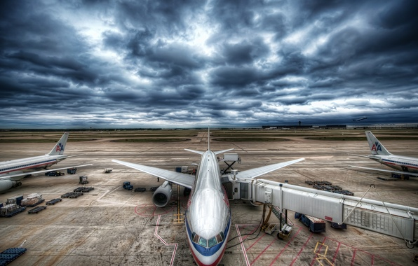 Picture the sky, aviation, clouds, the plane, airport, stormy sky