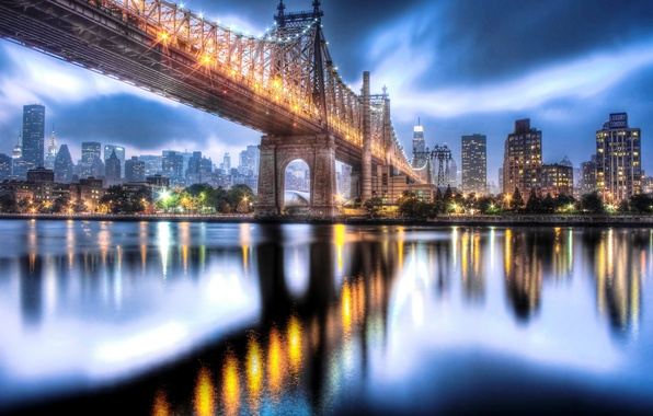 Picture the sky, clouds, the city, lights, reflection, river, building, home, New York, skyscrapers, the evening, …