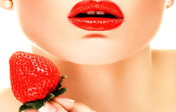 Picture makeup, strawberry, berry, lips, Red Lips