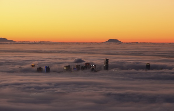 Picture clouds, sunset, fog, home, Canada, Vancouver