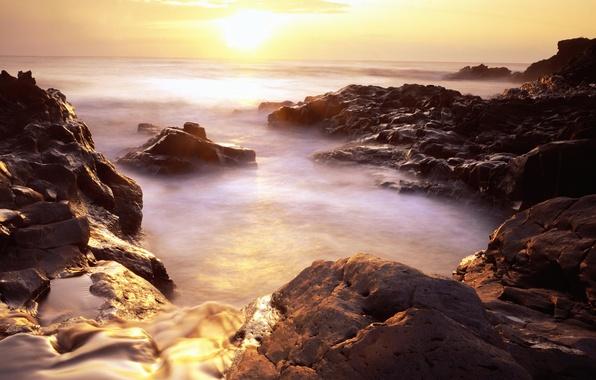Picture the sun, nature, fog, sunrise, stones
