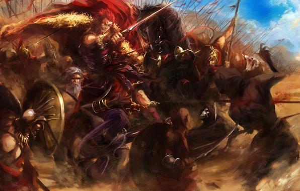 Picture weapons, horses, sword, war, art, battle, shield, cloak, fate stay night, peaks, rider, spears, assassin, …