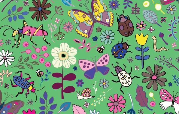 Picture Butterflies, beetles, blooms
