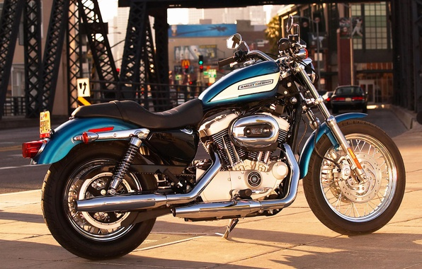 Picture road, the city, motorcycle, Harley-Davidson
