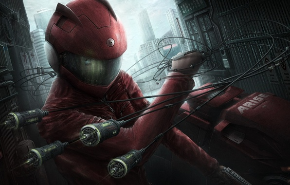 Wallpaper Girl The City Weapons Wire Art Helmet Ghost In The