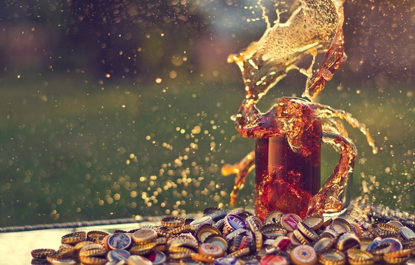 Picture glass, the explosion, glare, beer, splash, mug, cover, bokeh