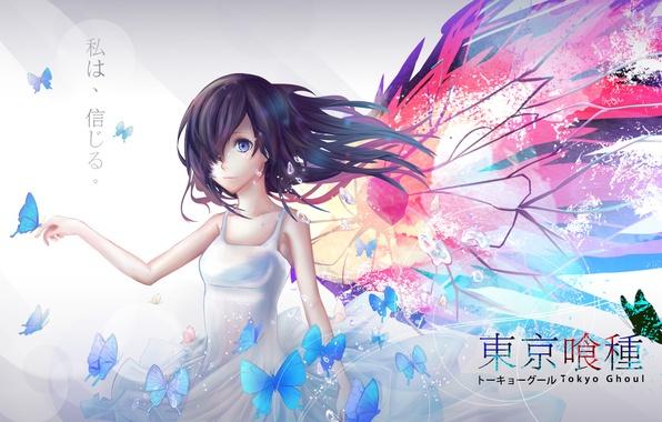 Picture girl, butterfly, wings, anime, tears, art, Tokyo ghoul, kirishima bring, tokyo ghoul
