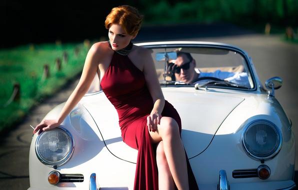 Picture auto, girl, dress, cigarette, legs