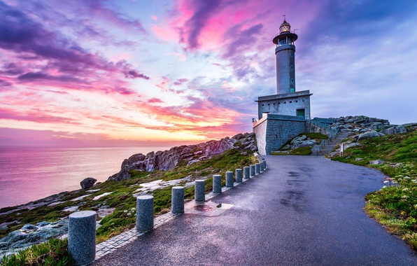 Picture sea, clouds, nature, rock, lighthouse, track, Spain, Punta Nariga