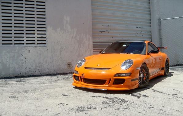 Picture orange, wall, the building, 997, the fence, wheels, porsche, Porsche, orange, gt3 rs, GT3 RS, …