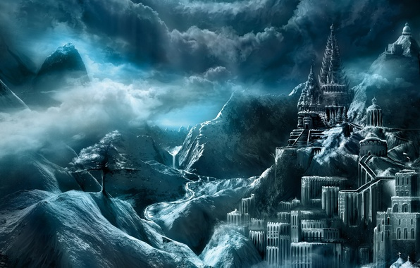 Picture clouds, mountains, the city, castle, tree, heaven, fortress, fantasy world