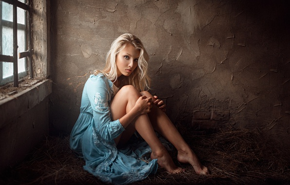 Picture girl, pose, sweetheart, model, portrait, dress, the barn, blonde, hay, light, legs, beautiful, the beauty, …