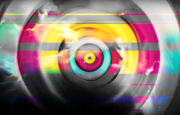 Picture line, circles, abstraction, colorful