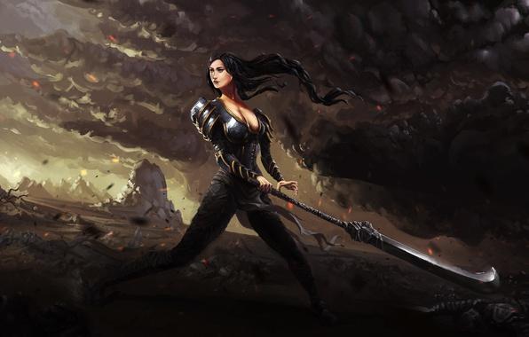 Picture Girl, Sword, Brunette, Fantasy, Warrior