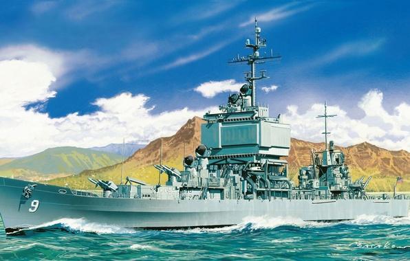 Picture ship, art, Navy, Long Beach, military, cruiser, atomic, rocket, Navy, USA., fleet, CGN-9