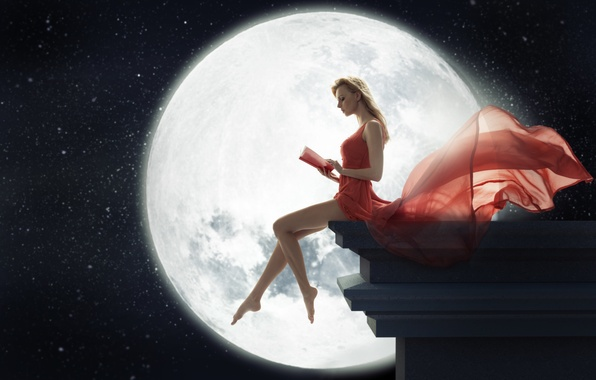 Picture girl, night, the moon, dress, blonde, book, legs, sitting, reads