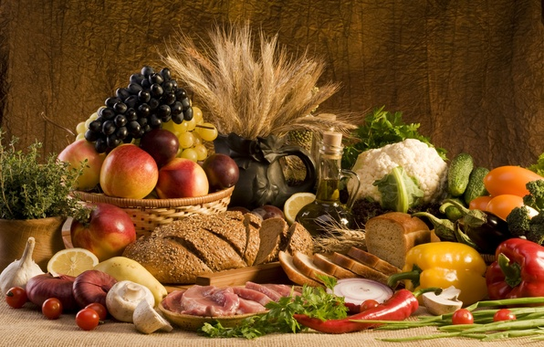 Picture wheat, greens, lemon, mushrooms, oil, food, bow, bread, grapes, meat, pepper, fruit, vegetables, peaches, plum, …