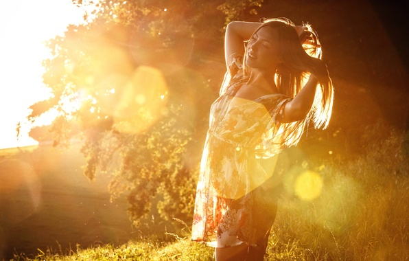 Picture girl, sunlight, Faint Silhouette