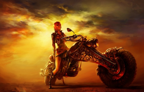 Picture road, girl, sunset, figure, the evening, motorcycle