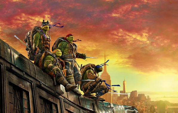 Picture roof, the sky, the city, weapons, dawn, fantasy, four, glow, mask, poster, Raphael, Leonardo, Donatello, …