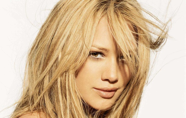 Picture look, girl, face, smile, hair, lips, white background, Hilary Duff