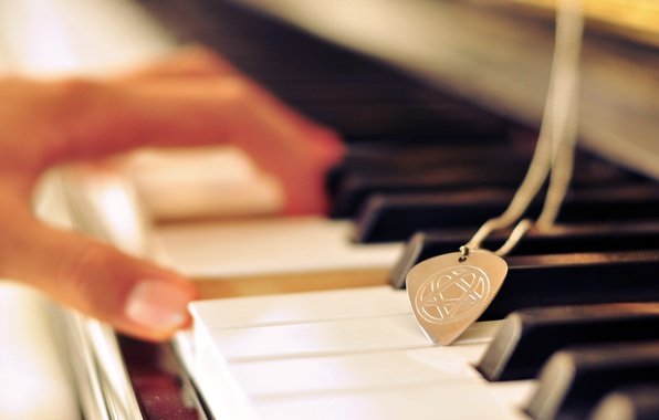 Picture sign, hand, keys, medallion, chord