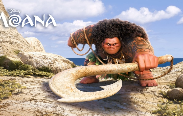 Picture sea, stones, weapons, cartoon, rope, fantasy, Walt Disney Pictures, Maui, Moana, Moana