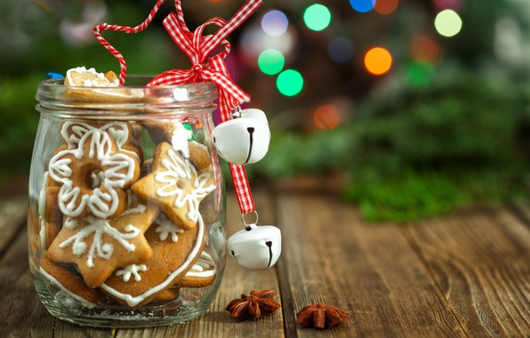 Picture holiday, Board, new year, Christmas, cookies, Bank, tree, bokeh, spices, star anise, bells