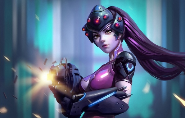 Picture girl, weapons, beauty, blizzard, fps, Overwatch, Widowmaker