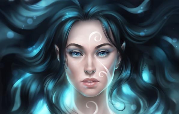Picture girl, pattern, blue eyes, Elf