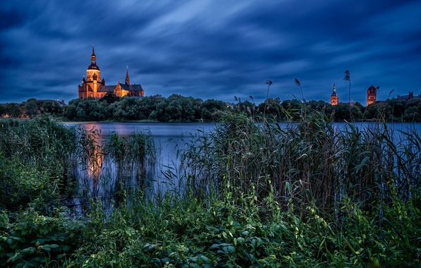 Picture lake, the evening, Germany, reed, Church, Germany, St. Mary's Church, Stralsund, Knieper Teich Lake, Stralsund, …