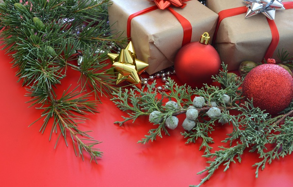 Picture juniper, decor, branches, balls, new year, needles, box, decoration, Christmas, toys, holiday, gifts, balls
