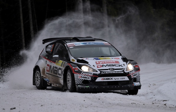 Picture Ford, Winter, Snow, Turn, Skid, Car, WRC, Rally, Fiesta