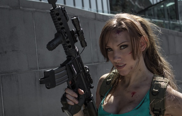 Picture girl, weapons, blood, machine, cosplay, Lara Croft