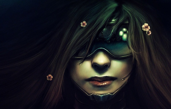 Picture girl, face, glasses, Cyberpunk
