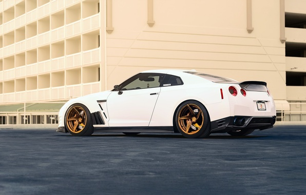 Picture Nissan, GT-R, Car, Power, White, R35, Sport, Rear, Ligth